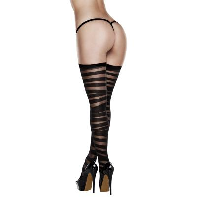 After Dark - Sheer And Opaque Thigh Highs Black OS - AD2039
