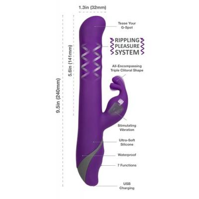 BMS ENTERPRISES - Commotion The Samba Triple Rabbit Purple - 95115 -  at Black Knight Erotica Adelaide's Largest Adult Shop!