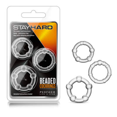 Stay Hard Beaded Cockrings - Clear - BL-00012