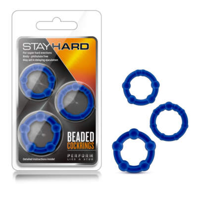 Stay Hard Beaded Cockrings - Blue - BL-00013