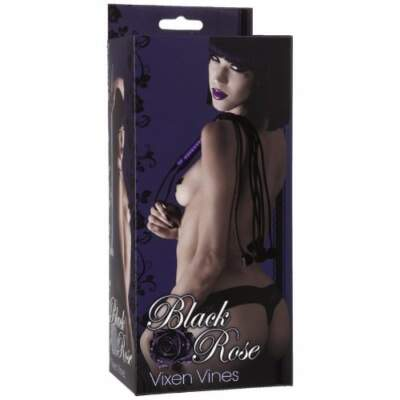 Black Rose Vixen Vines Cat O Nine Tails Flogger Black 2301-16-BX 782421017002