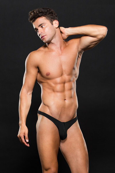 E062-BLK Zip Up Low-Rise Thong