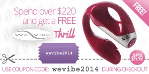 "We-Vibe Thrill coupon promo - spend over $220 online and get a FREE We-Vibe ""Thrill"" vibrator!"