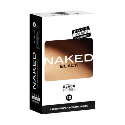 Four Seasons Naked Black Flared Tip Condoms 12 Pack 9312426006537