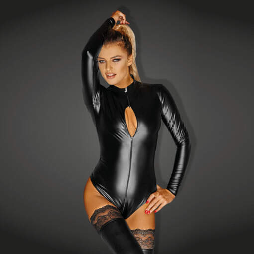 Noir Handmade Wet Look Lingerie - Powerwetlook Bodysuit with 3-way Zipper - 5902175348473