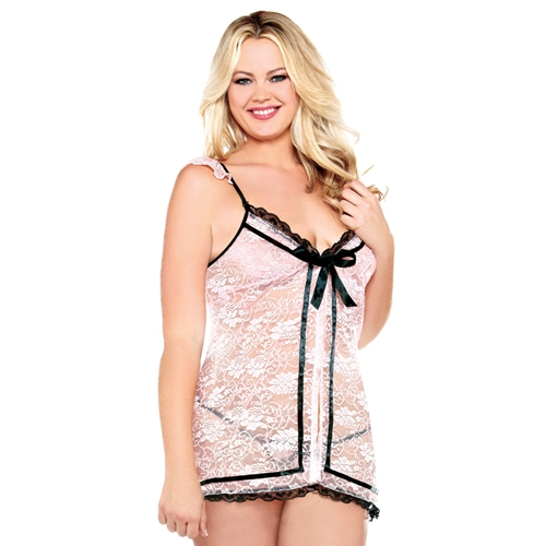 Plus Size - Babydoll with Ribbon Front - Blush