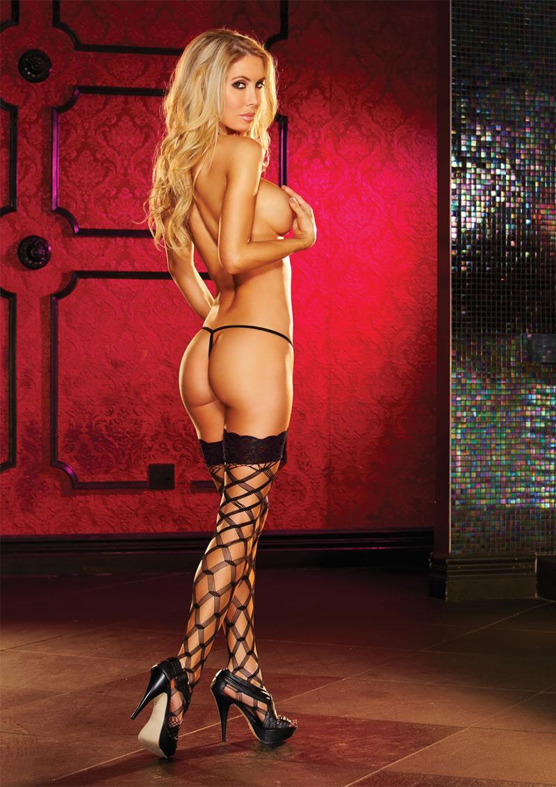 Lapdance LH-1010-BK Diamond-Net Thigh High Stockings