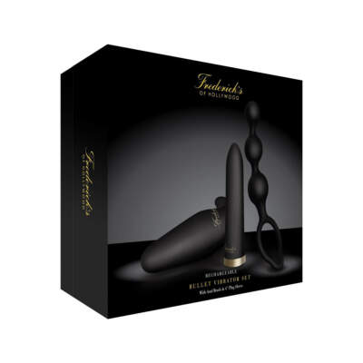 Fredericks of Hollywood - Rechargeable Bullet Vibrator Set with Anal Beads and Butt Plug (Black) - FOH-006 - 4890808194751