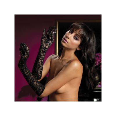 Lace elbow length gloves Plybg STM-40111-OS-Blk