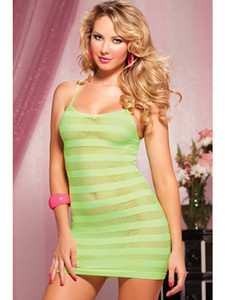 Riot Girly Seamless solid and net stripe dress STM-9683P-O/S-LIME