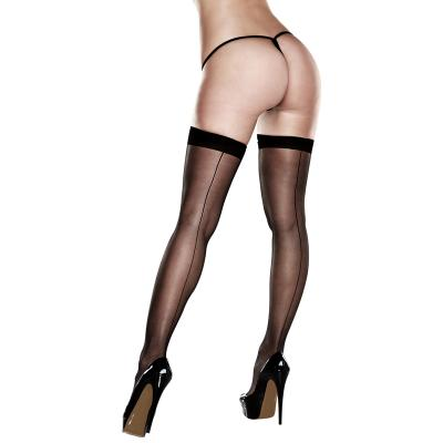 After Dark - Sheer Thigh Highs With Backseam With Banded Silicone Stay-Up Black Queen - AD2036-Q