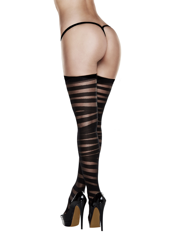 After Dark - Sheer And Opaque Thigh Highs Black QUEEN - AD2039-Q
