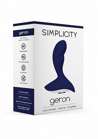 Geron Anal Vibrator Silicone 10 Speed Navy Blue - Simplicity - SIM065BLU - 8714273934574