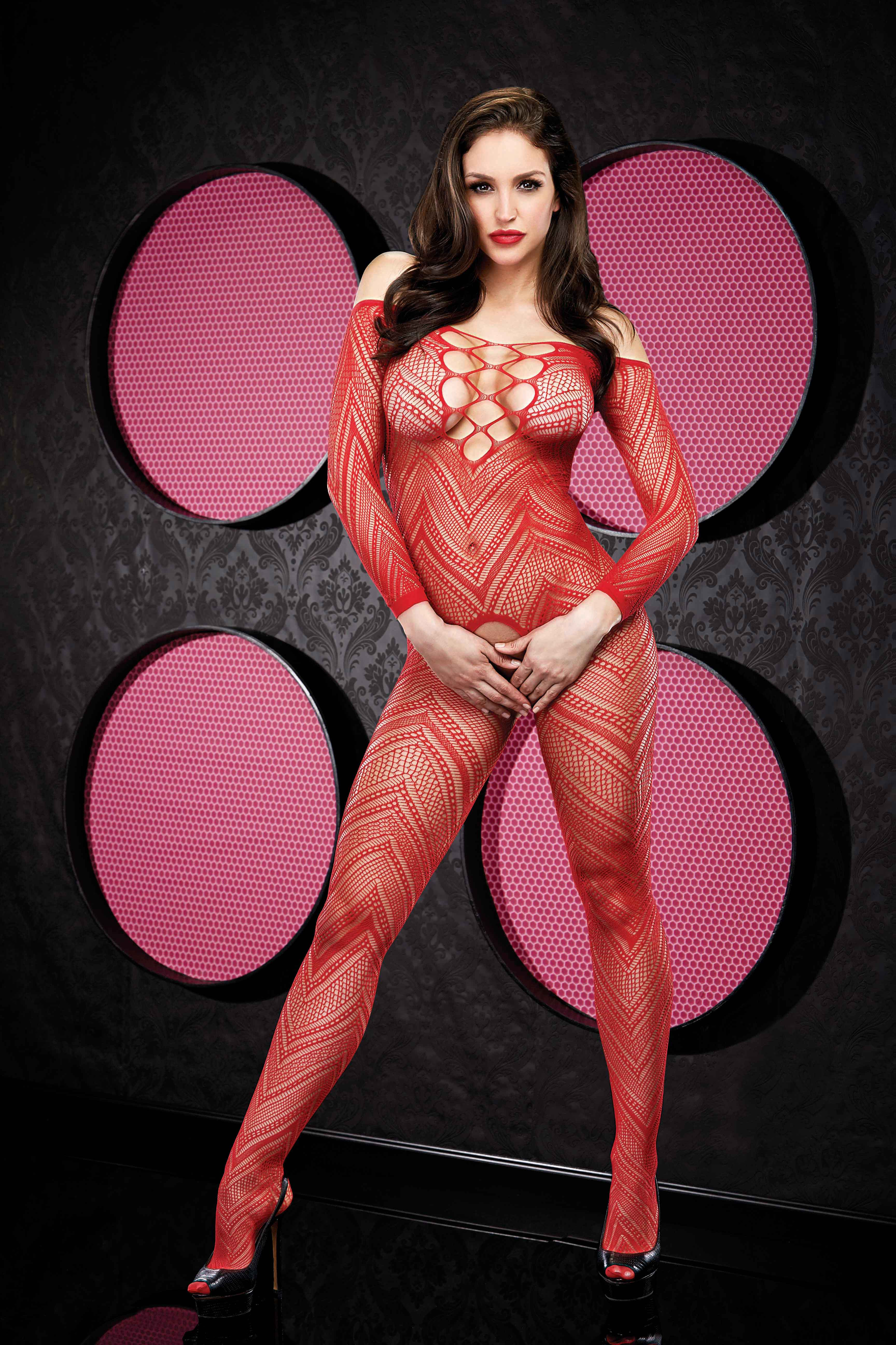 VIP L/S Crotchless Bodystocking Red - Lapdance Lingerie - LH-2008-R - 848416002030