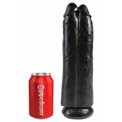 King Cock 11 in. Two Cocks One Hole - Black - King Cock - PD5552-23 - 603912750751