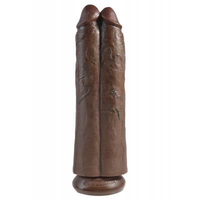 King Cock 11 in. Two Cocks One Hole - Brown - King Cock - PD5552-29 - 603912750768
