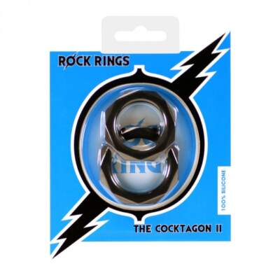 ABS Holdings Rock Rings Cocktagon II Cock Ring 2 Pack Black K0011B10PTCS 5060365094668