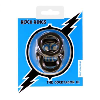 ABS Holdings Rock Rings Cocktagon III Cock Ring 3 Pack Black K0012B10PTCS 5060365094675
