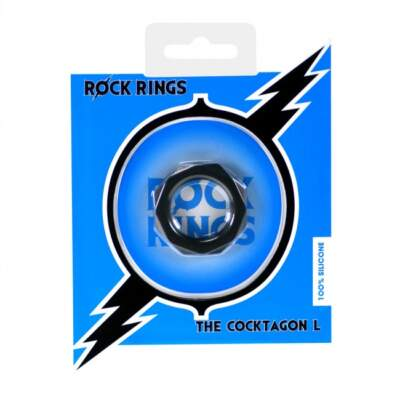 ABS Holdings Rock Rings The Cocktagon Large Cock Ring Black F0093B10PTCS 5060365094583