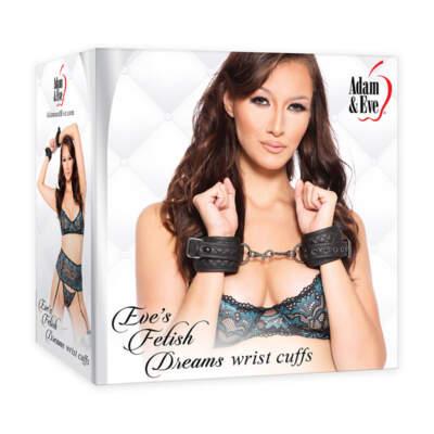 Adam Eve Eves Fetish Dreams Wrist Cuffs Black AE FD 7181 2 844477017181 Multiview