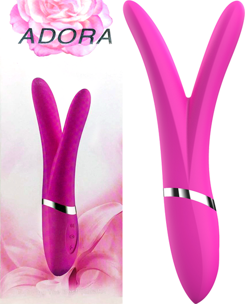 Adora Rechargeable Y Shaped Vibrator Pink YQ 409 PNK ADORA 6904348840783 Multiview