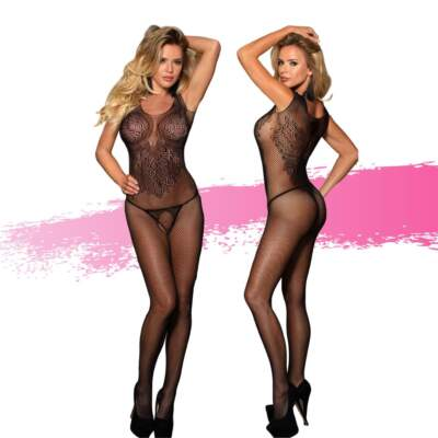 Ashella Lingerie Madelena Bodystocking Plus Size QUEEN Black ASH016 9354434001166 Multiview
