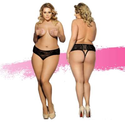Ashella Lingerie Madonna Crotchless G String One Size S M Black ASH024 9354434001241 Multiview