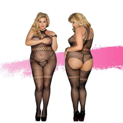 Ashella Lingerie Mara Bodystocking Plus Size QUEEN Black ASH012 9354434001128 Multiview