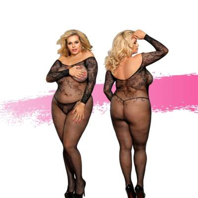 Ashella Lingerie Marla Bodystocking Plus Size QUEEN Black ASH006 9354434001067 Multiview