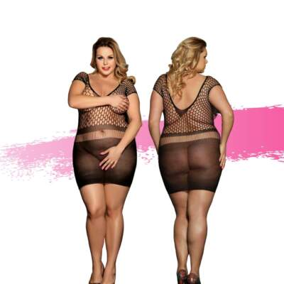 Ashella Lingerie Maya Dress Plus Size QUEEN Black ASH010 9354434001104 Multiview