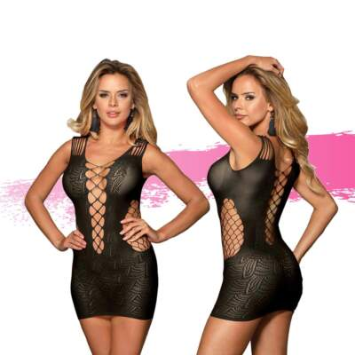 Ashella Lingerie Melina Dress One Size OS Black ASH007 9354434001074 Multiview