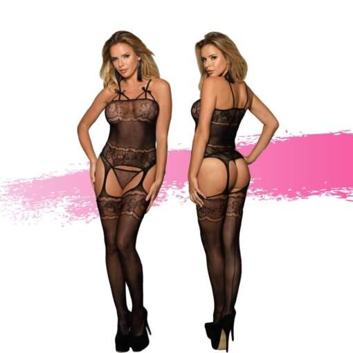 Ashella Lingerie Melissa Bodystocking One Size OS Black ASH013 9354434001135 Multiview
