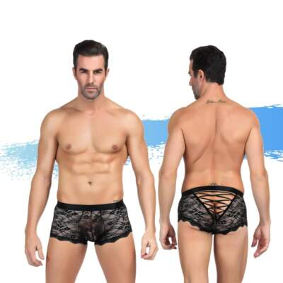 Ashella Lingerie Mica Mens Lace Boxer Brief L XL Black ASH021 9354434001210 Multiview