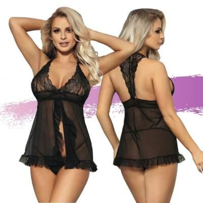 Ashella Lingerie Samantha Babydoll and G String Set Black OS One Size ASH030 9354434001302 Multiview