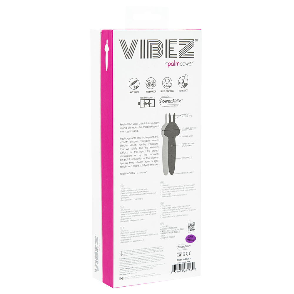 BMS Palmpower VIBEZ Rechargeable Vibrating Rabbit Wand Pink 21216 677613212160 Back Boxview