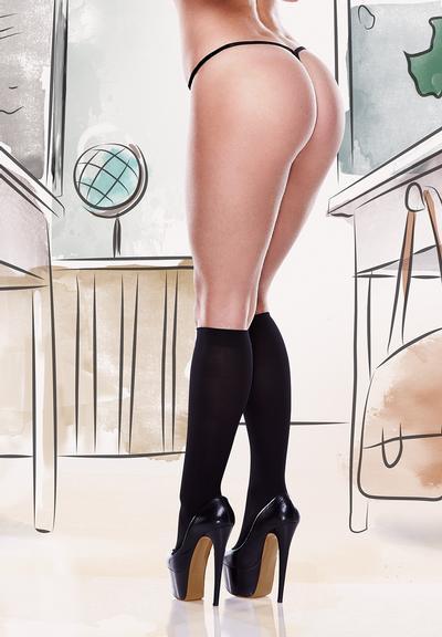Baci Dreams Hosiery Knee High Stockings Sheer Black QUEEN 1261 Q 4890808186510 Back Detail