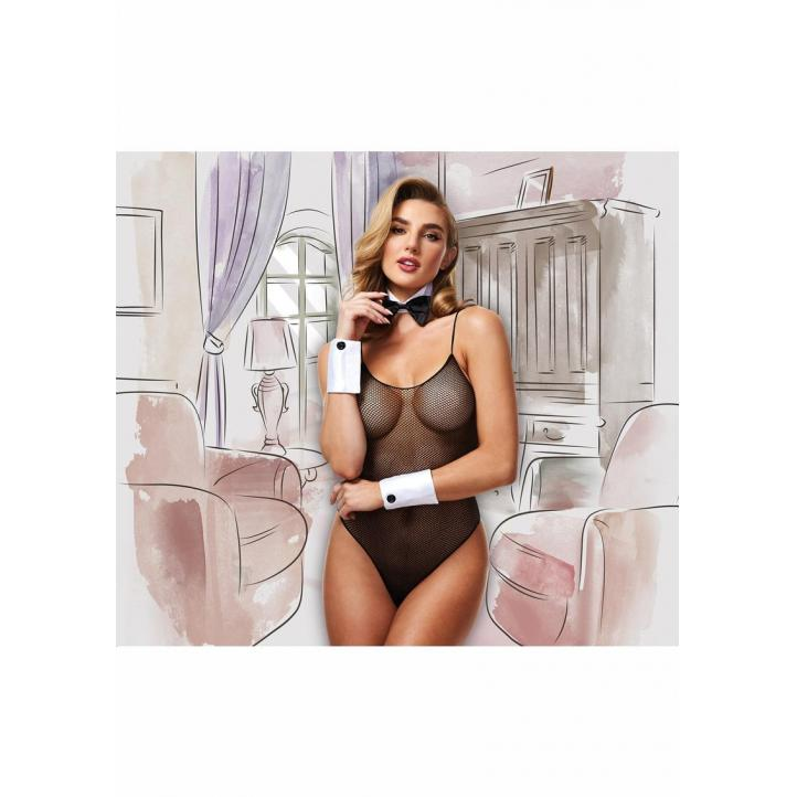 Baci Lingerie Dreams Deluxe Fishnet Teddy Bunny Set OS One Size OSFM Black 1406OS 4890808228494 Front Detail