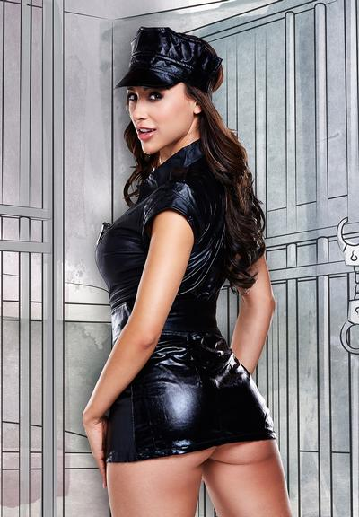 Back View of Baci Lingerie Dreams Dirty Cop Set Police Costume Black 1290-OS 4890808123591