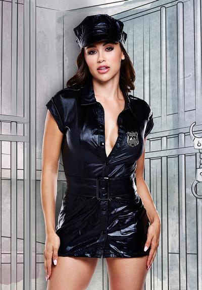 Front View of Baci Lingerie Dreams Dirty Cop Set Police Costume Black 1290-OS 4890808123591