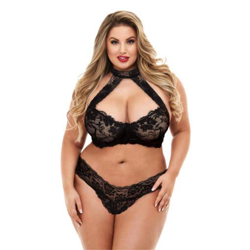 Baci Lingerie Lace Halter Bikini Set Black QUEEN 3166-BLK-QS