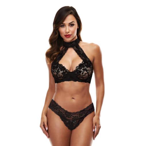 Baci Lingerie Lace Halter Bikini Set Black 3166-BLK