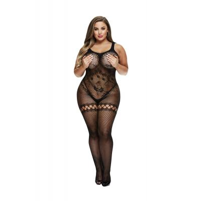 Baci Lingerie White Label Crotchless bodystocking with leg garter detail Queen BLW5000 Q 4890808200186