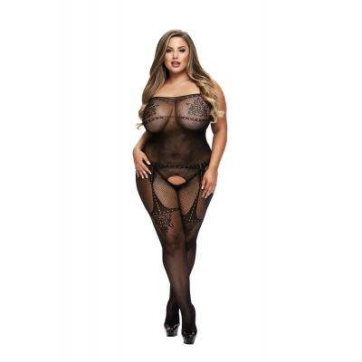 Baci Lingerie White Label Crotchless jacquard bodystocking Queen BLW5004 Q 4890808200261