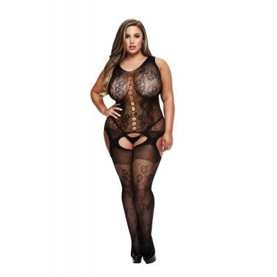 Baci Lingerie White Label Crotchless jacquard w front circle detail bodystocking Queen BLW5015 Q 4890808200483