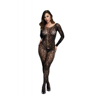 Baci Lingerie White Label Longsleeve lace crotchless bodystocking OS BLW5001 4890808200193