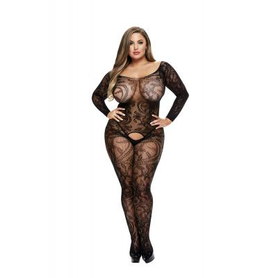Baci Lingerie White Label Longsleeve lace crotchless bodystocking Queen BLW5001 Q 4890808200209