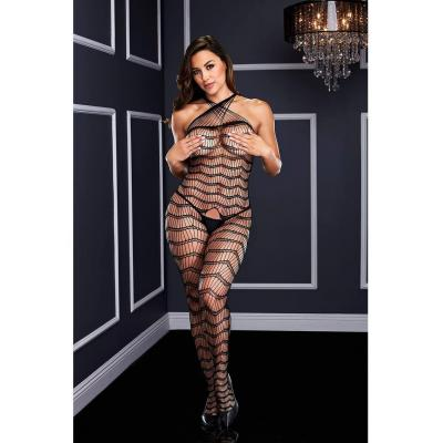Baci White Label Criss Cross Crotchless Bodystocking OS 5002 OS BLK 4890808200216 Front Detail