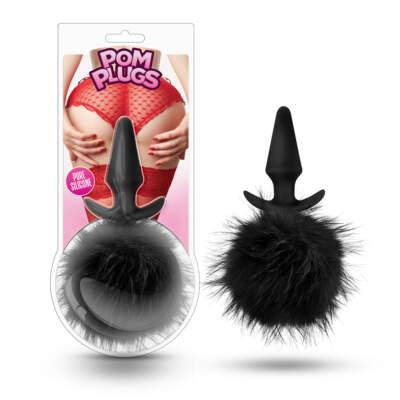 Blush Novelties POM Plugs Pom Pom Silicone Butt Plug with tail Black BL-59205 702730683163
