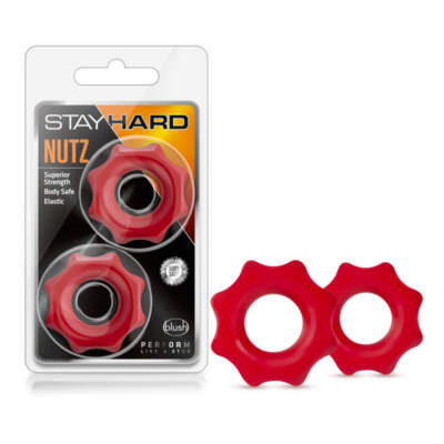 Blush Novelties Stay Hard Nutz 2 Pack Spur Shape Cock RIngs Red BL 09998 850002870268 Multiview