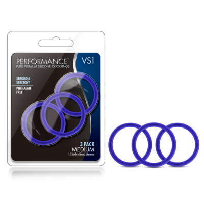 Blush Novelties VS1 Performance Silicone Cock Rings 3Pk Blue BL-71812 819835020431